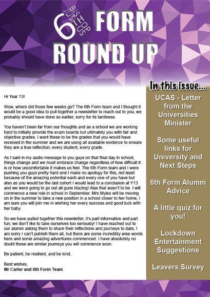 Y13 Round Up Newsletter