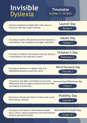 Dylsexia Awareness Week Timetable   BDA